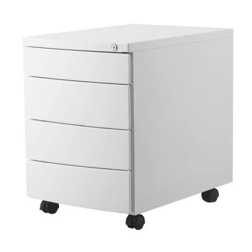 Kontener UNIQUE Rp 04B biały/czarny/srebrny (4 szuflady)