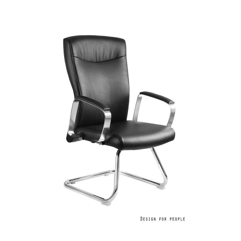Adella Skid fotel biurowy (skóra eko.) czarny UNIQUE