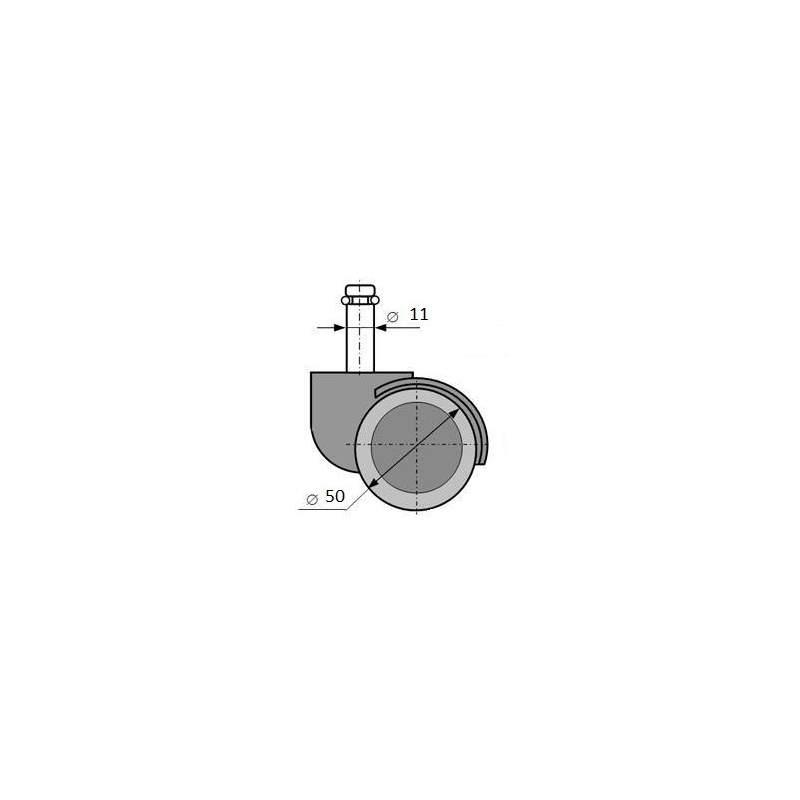 Komplet (5 szt.) kółek do foteli z oponką gumowaną (50 mm ) UNIQUE